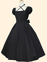 One-Piece/Dress Sweet Lolita Rococo Cosplay Lolita Dress Red Black Ink Blue Solid Short Sleeve Tea-length Dress For Women Cotton