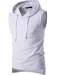 Herren Solide Einfach Ausgehen Lässig/Alltäglich T-shirt,V-Ausschnitt Frühling Herbst Ärmellos Weiß Schwarz Grau Leinen Mittel