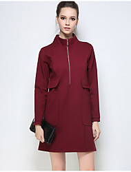 Women's Plus Size Going out Holiday Sexy Simple Shift Sheath Dress,Solid Stand Above Knee Long Sleeve Lantern Sleeve Cotton SpandexRed