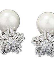 Stud Earrings Pearl Zircon Cubic Zirconia Alloy Statement Jewelry Silver Jewelry Casual 1 pair