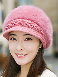 Fashion Knitted Wool Cap Solid Color Duck Tongue Berets Winter Warm Fashion Rabbit Fur Hat