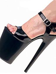 Women's Sandals Spring Summer Fall Comfort Novelty PU Wedding Party & Evening Dress Stiletto Heel Platform Crystal Heel Buckle Black Red
