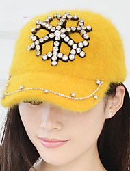 Autumn And Winter Ladies Rabbit Cap Warm Hat Pure Handmade Diamond - Studded Snow Rabbit Rabbit Baseball Cap