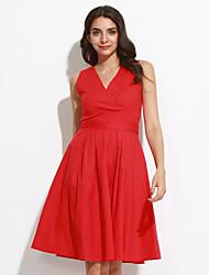 Gaine Robe Femme Grandes Tailles Vintage,Couleur Pleine Col en V Mi-long Sans Manches Rouge Coton Toutes les Saisons Taille Normale