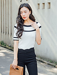 Women's Going out Cute Fall Blouse,Striped Boat Neck ½ Length Sleeve White Wool Medium