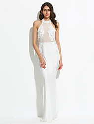 Women's Lace Mesh Applique Maxi Long Party Dress