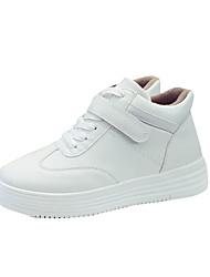Women's Athletic Shoes Spring Fall PU Casual Flat Heel White Black Walking