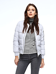 Women's Down Coat,Sophisticated Going out Plus Size Solid-Cotton Polyester White Duck Down Long Sleeve