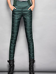 Feminino Pequeno Skinny Chinos Calças-Cor Única Casual Simples Cintura Alta Zíper Náilon Micro-Elástico Todas as Estações