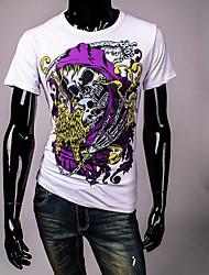 Herren Solide Geometrisch Street Schick Lässig/Alltäglich T-shirt,Rundhalsausschnitt Sommer Kurzarm Weiß Baumwolle Undurchsichtig