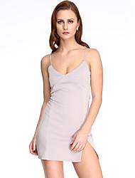 Robe Aux femmes Moulante Sexy,Couleur Pleine A Bretelles Mini Coton