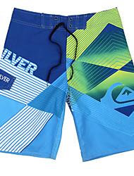 мужские быстросохнущая дышащая пляж плавать шорты печати полиэстер синий