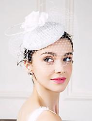 Women's Feather Flax Silk Net Headpiece-Wedding Special Occasion Fascinators Flowers Birdcage Veils 1 Piece