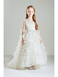 Princess Floor-length Flower Girl Dress - Cotton Organza Jewel with Beading Lace