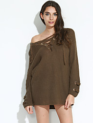 Women's Going out / Casual/Daily Simple / Street chic Regular PulloverSolid Beige / Brown / Green V Neck Long
