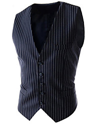 Men's Striped Casual / Work Slim Vest Top,Cotton / Polyester Sleeveless Black / Blue / Gray All Seasons Men's Fashion Clothing