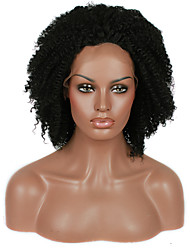 Afro Kinky Curly Synthetic Lace Front Wig Black Color Hair Heat Resistant Synthetic Hair Fiber Wig With Adjustable Strap Back