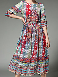 Women's Holiday Boho Sophisticated A Line Chiffon Dress,Floral Round Neck Midi ½ Length Sleeve Polyester Red Spring Mid Rise Inelastic