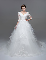 A-line Wedding Dress Chapel Train V-neck Organza with Appliques Beading Crystal Pearl Sash / Ribbon Sequin Tiered