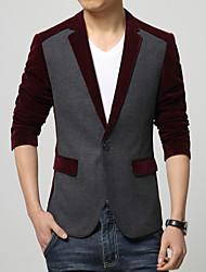 Blazer Hommes,Couleur Pleine Décontracté / Quotidien Travail Habillées Grandes Tailles Manches Longues Coton