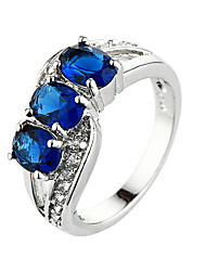 Wholesale Romantic Love Style Jewelry CZ Diamond  Sapphire Silver Ring Size 6 7 8 9 10 Women Bridal Wedding