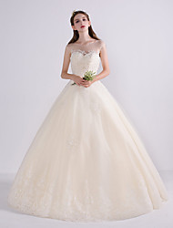 Princess Wedding Dress Floor-length Jewel Lace Tulle with Beading