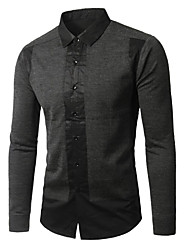 Men's Casual/Daily Simple Shirt,Solid Button Down Collar Long Sleeve Black Gray Rayon