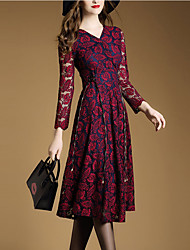 Women's Lace Going out Street chic A Line Dress,Jacquard V Neck Midi Long Sleeve Red Green Polyester Spring Mid Rise Micro-elastic Medium