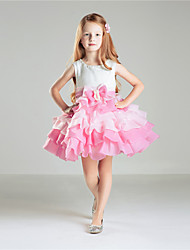 Princess Knee-length Flower Girl Dress - Cotton Crepe Tulle Sleeveless Jewel with Beading Bow(s)