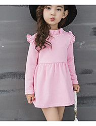 Girl's Casual/Daily Solid Dress,Rayon Winter Fall Long Sleeve