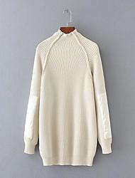 Damen Lang Pullover-Ausgehen Lässig/Alltäglich Einfach Street Schick Patchwork Blau Beige Ständer Langarm Acryl Polyester ElasthanHerbst
