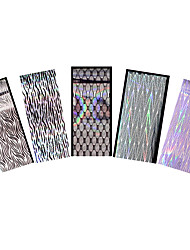 5pcs Transfer Foil Nail Art Sticker Laser Wave Decal Sexy Women Manicures Guide Tips Foil Tool