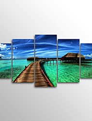 Canvas Set Unframed Canvas Print  Sea Landscape Modern  Five Panels Canvas Horizontal Print Wall Decor For Home Decoration