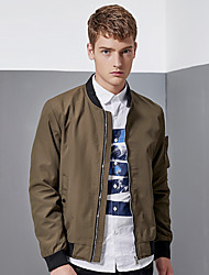 Men's Casual/Daily Work Sports Simple Street chic Jackets,Solid Stand Long Sleeve Spring Fall Blue Black Green Polyester Medium