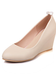 Damen-High Heels-Kleid-Kunstleder-Keilabsatz-Komfort-Schwarz Rosa Beige
