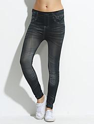 Moda Wrinkle cintura alta Oxford Cloth Pattern finas Leggings Nona Pants