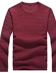 Herren Punkt Einfach Lässig/Alltäglich T-shirt,Rundhalsausschnitt Herbst Winter Langarm Blau Rot Grau Baumwolle