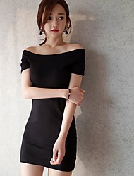 Women's Party/Cocktail Club Sexy Bodycon Dress,Solid Backless Boat Neck Above Knee Short Sleeve Cotton Black Spring High Rise