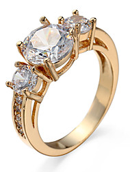 Romantic Crystal Ring Glass Zircon Rings For Women Bright Gold-Plating Engagement Bride Ornaments Wedding Rings 94719
