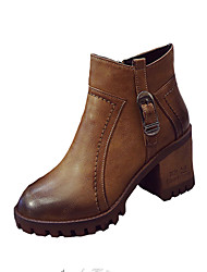 Women's Boots Fall Winter Comfort PU Casual Low Heel Chain Black Brown Other