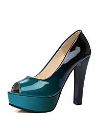 Damen-Sandalen-Büro Lässig Party & Festivität-Lackleder-BlockabsatzRot Grün Blau