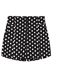 Damen Breites Bein Kurze Hosen Hose-Lässig/Alltäglich Einfach Punkte Hohe Hüfthöhe Reisverschluss Others Micro-elastischRiemengurte