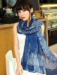 retro azul e lenço branco porcelana chiffon das mulheres (cores sortidas)
