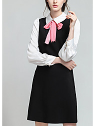 Women's Casual/Daily Simple A Line Dress,Solid Shirt Collar Mini Long Sleeve Black Cotton Fall Mid Rise Micro-elastic Medium