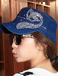 Women 'S Spring And Summer New Fashion Paste Diamond Fox Navy Flat Top Hat Duck Tongue  Hat