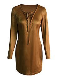 Trapèze Robe Femme Décontracté / Quotidien Vintage Chic de Rue,Couleur Pleine Col en V Au dessus du genou Manches Longues MarronCoton