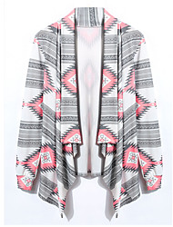 Winter Women's Print Pink / Green Coats & Jackets , Sexy / Party Cape Long Sleeve