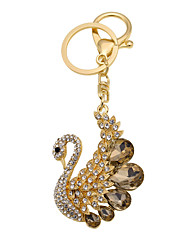 Cute animal models of metal diamond diamond Swan Keychain