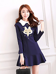 Women's Casual/Daily Simple Loose Dress,Print Boat Neck Above Knee Long Sleeve Blue Nylon Fall Mid Rise Inelastic Thin