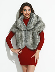 Women's Club Vintage Cloak/Capes Sleeveless Winter Faux Fur